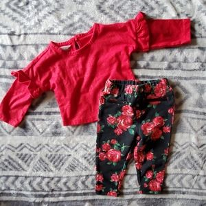Glittery red shirt matching floral pants